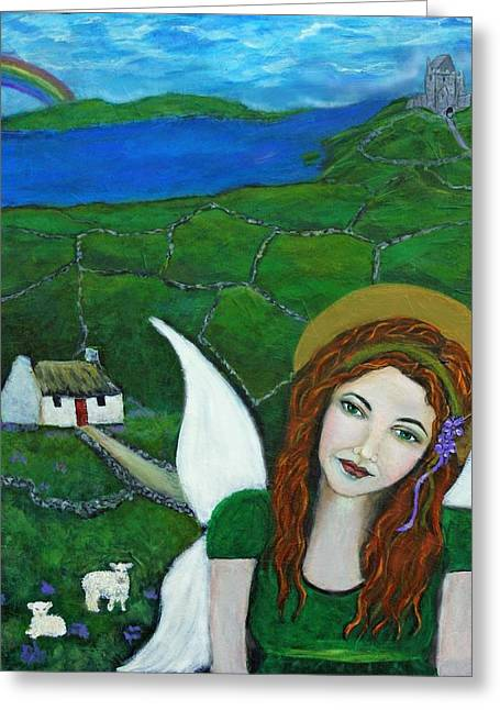 Shades Of Red Greeting Cards - Fiona An Irish Earthangel Greeting Card by The Art With A Heart By Charlotte Phillips