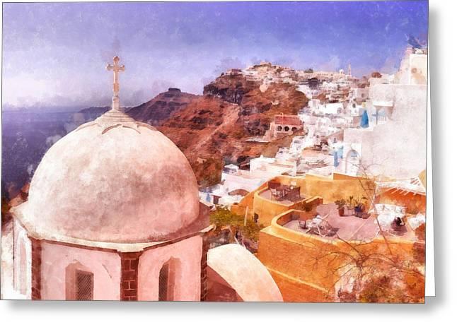 Mediterranean Landscape Digital Art Greeting Cards - Fira church digital watercolor painting Greeting Card by Antony McAulay