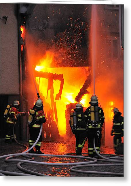 Fire Fighter Greeting Cards - Fire - Burning House - Firefighters Greeting Card by Matthias Hauser