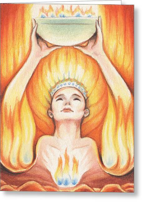 Heat Drawings Greeting Cards - Fire - The Elements Greeting Card by Amy S Turner