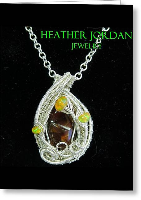 Wrap Jewelry Greeting Cards - Fire Agate Pendant in Sterling Silver with Ethiopian Welo Opals FRAGPSS1 Greeting Card by Heather Jordan
