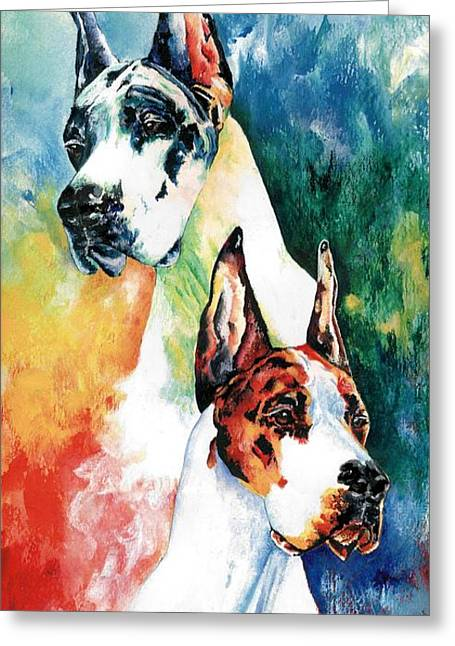 Dogs Paintings Greeting Cards - Fire And Ice Greeting Card by Kathleen Sepulveda