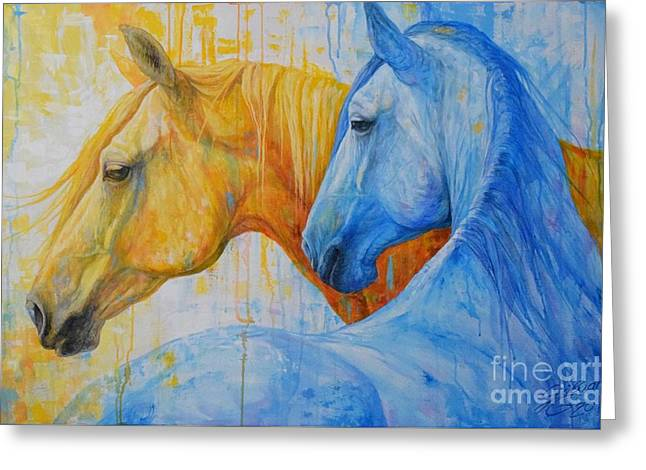 Fire And Ice Greeting Card by Silvana Gabudean