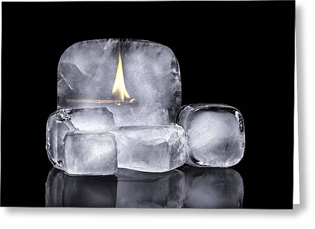 Impossible Object Greeting Cards - Fire and Ice Greeting Card by Tom Mc Nemar