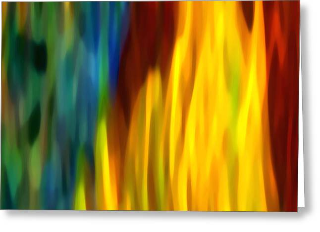 Green And Yellow Abstract Greeting Cards - Fire and Water Greeting Card by Amy Vangsgard