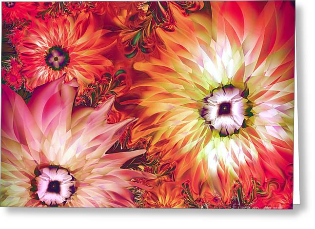 Fractal Flower Greeting Cards - Fire Asters Greeting Card by Mindy Sommers