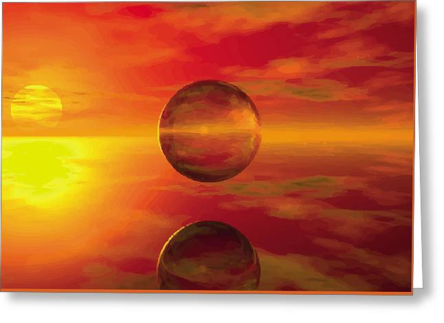 Abstract Digital Glass Greeting Cards - Fire Ball Greeting Card by Jay Salton