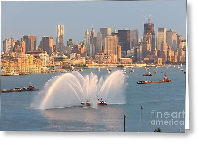 Hudson River Tugboat Greeting Cards - Fire Boat and Manhattan Skyline IV Greeting Card by Clarence Holmes