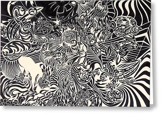 Abstract Beach Landscape Drawings Greeting Cards - Fire Breathing Cow Greeting Card by Sean Corcoran