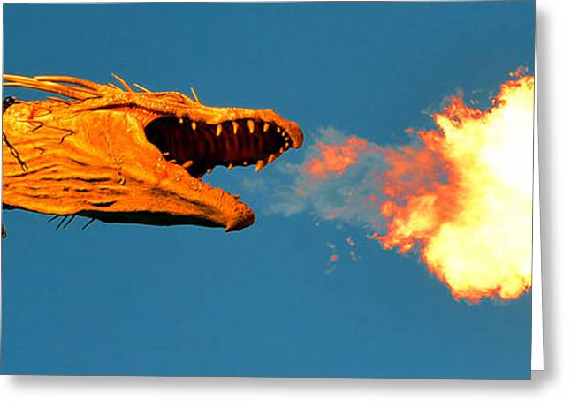 Universal Monsters Greeting Cards - Fire Breathing Dragon pano work Greeting Card by David Lee Thompson