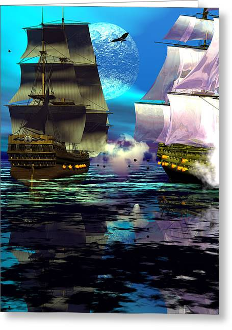 Sailing Ship Greeting Cards - Fire Greeting Card by Claude McCoy