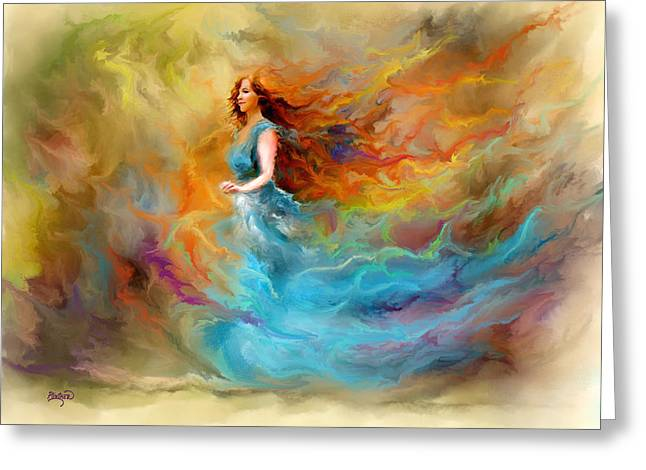 """photo Manipulation"" Paintings Greeting Cards - Fire Dancer Greeting Card by Patricia Lintner"