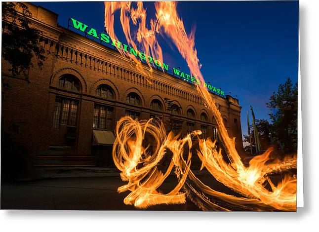 Power Plants Greeting Cards - Fire Dancers In Spokane W A Greeting Card by Steve Gadomski
