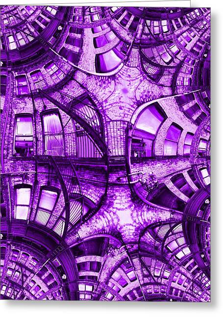 Violet Blue Greeting Cards - Fire Escape Fractal 2 Greeting Card by Tim Allen