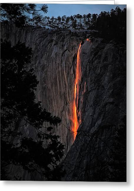 Fire Fall Greeting Card by Edgars Erglis