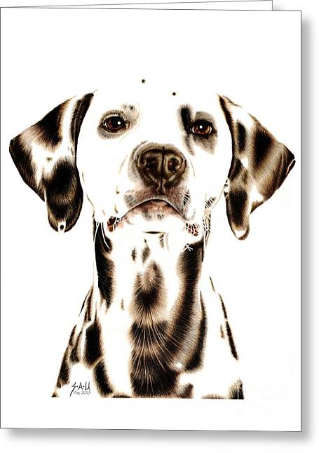 Dog Portraits Greeting Cards - Fire Fighters Best Friend Greeting Card by Sheryl Unwin