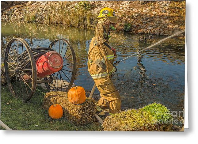 Fighters Greeting Cards - Fire Fighting Witch Greeting Card by Sue Smith