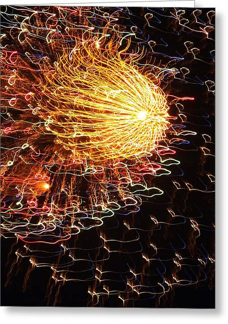 July 4th Greeting Cards - Fire Flower Greeting Card by Karen Wiles