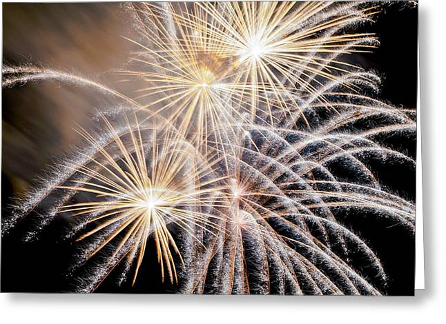 Fireworks Prints Greeting Cards - Fire Flowers Greeting Card by James Steele