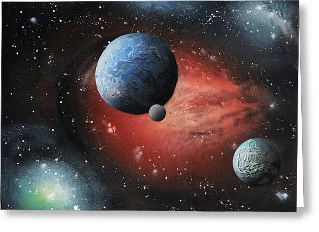 Stellar Paintings Greeting Cards - Fire Galaxy Greeting Card by Alisa Amor