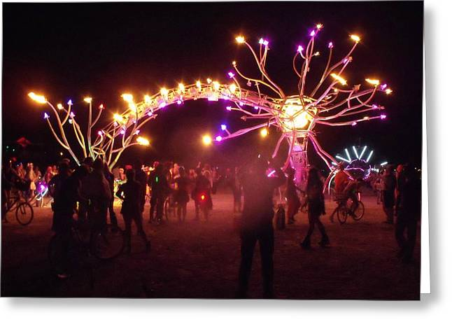 Electric Fire Garden Burning Man 2009 Greeting Card by Zen WildKitty