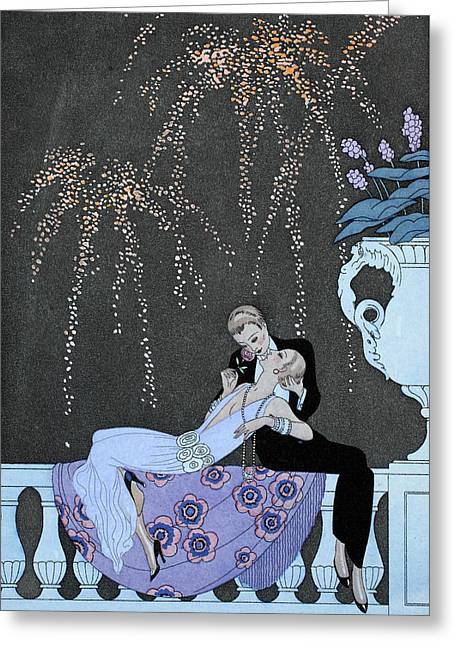 Sky Lovers Art Greeting Cards - Fire Greeting Card by Georges Barbier
