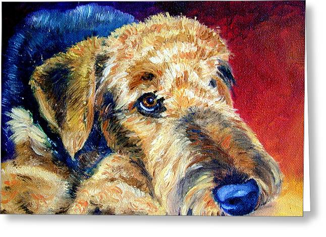 Airedale Terrier Greeting Cards - Fire Glow Greeting Card by Lyn Cook