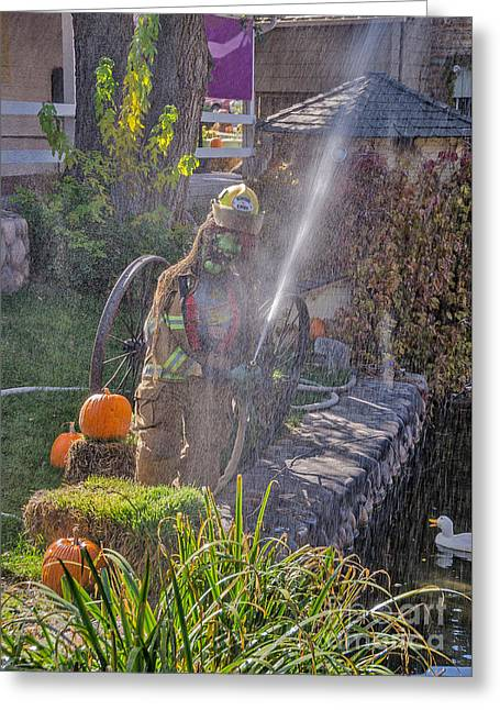 Fighters Greeting Cards - Fire Hose Shower Greeting Card by Sue Smith
