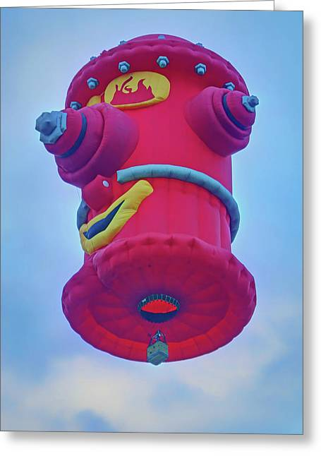 Balloon Fiesta Greeting Cards - Fire Hydrant - Hot Air Balloon Greeting Card by Nikolyn McDonald