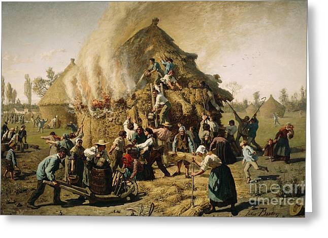 Fire In A Haystack, 1856 Greeting Card by Jules Breton