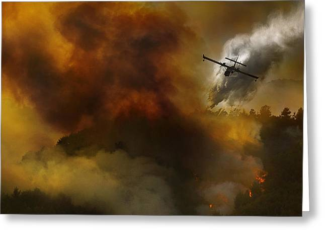 Forest Fire Greeting Cards - Fire In National Park Of Cilento (sa) - Italy Greeting Card by Antonio Grambone