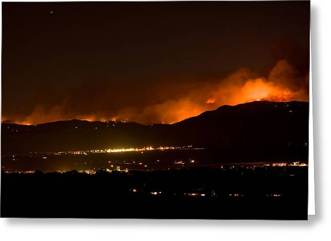 Colorado Wildfires Greeting Cards - Fire In The Mountains No Lightning in The Air  Greeting Card by James BO  Insogna