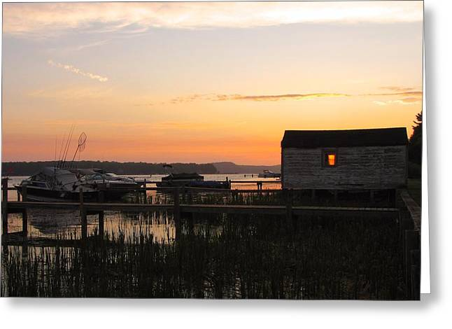 Boats At Dock Greeting Cards - Fire in the Pentwater Boathouse  Greeting Card by Jane Greiner