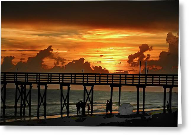 York Beach Greeting Cards - Fire in the Sky Greeting Card by Bill Cannon