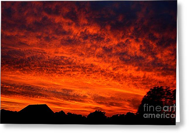 Fire In The Sky Greeting Card by Clayton Bruster