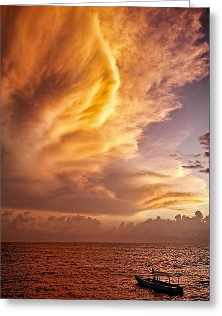 Jamaica Greeting Cards - Fire in the Sky Greeting Card by Dave Bowman