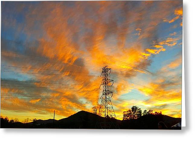 Fire In The Sky Greeting Card by Joseph Kimmel