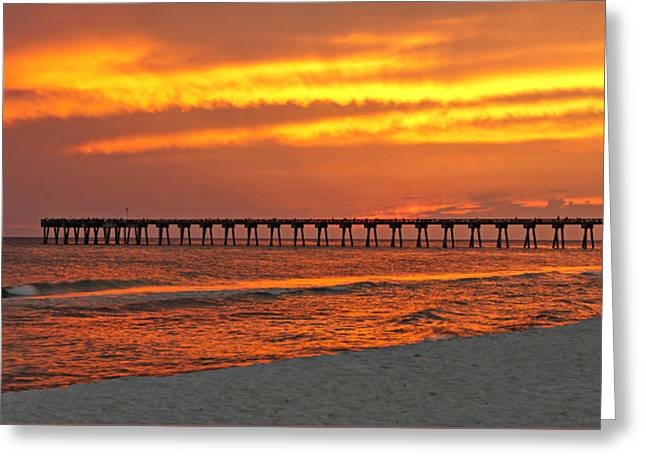 Fire In The Sky Greeting Card by Sandy Keeton