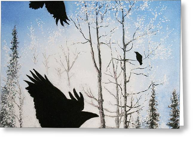 Crows Greeting Cards Greeting Cards - Fire in The Sky Greeting Card by Stanza Widen