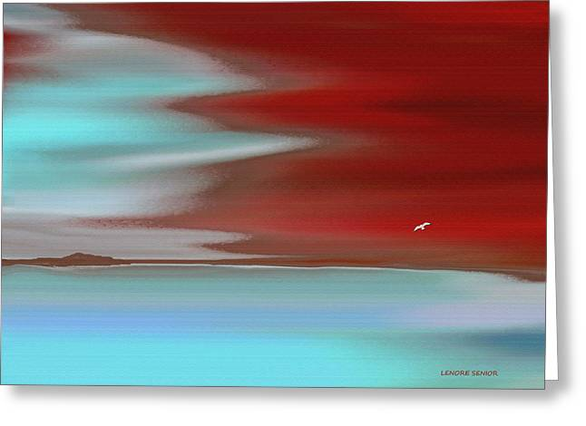 Abstract Digital Paintings Greeting Cards - Fire Island Greeting Card by Lenore Senior