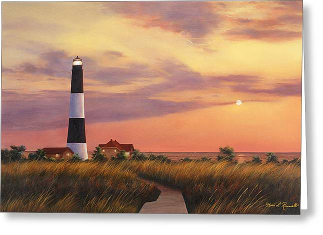 Sunset Prints Greeting Cards - Fire Island Lighthouse Greeting Card by Diane Romanello