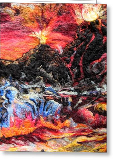 Hawaii Tapestries - Textiles Greeting Cards - Fire Greeting Card by Kimberly Simon