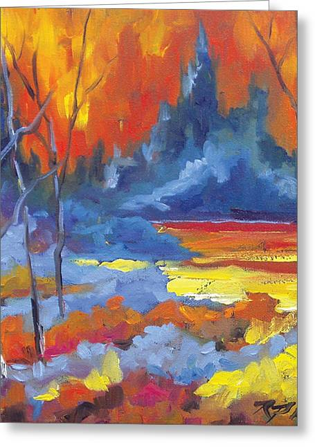 Nature Scene Paintings Greeting Cards - Fire Lake Greeting Card by Richard T Pranke