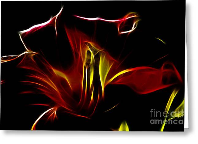 Red Tiger Greeting Cards - Fire Lily Greeting Card by Cheryl Young