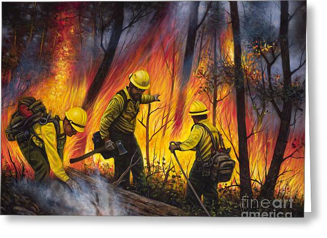 Suspenders Greeting Cards - Fire Line 2 Greeting Card by Ricardo Chavez-Mendez