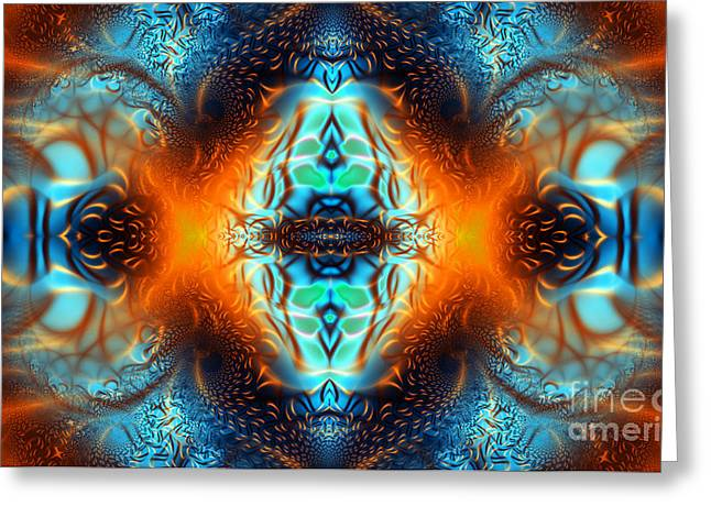 Geometric Artwork Greeting Cards - Fire Of Desire Greeting Card by Ian Mitchell