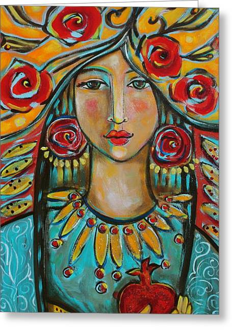 Women With Roses Greeting Cards - Fire of the Spirit Greeting Card by Shiloh Sophia McCloud