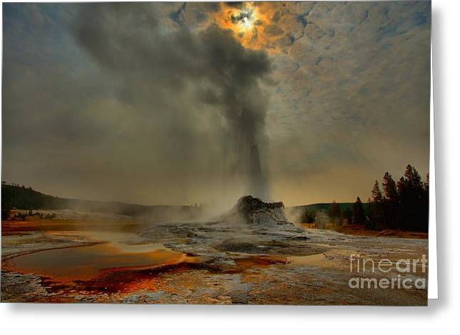 Alga Greeting Cards - Fire Over Castle Greeting Card by Adam Jewell