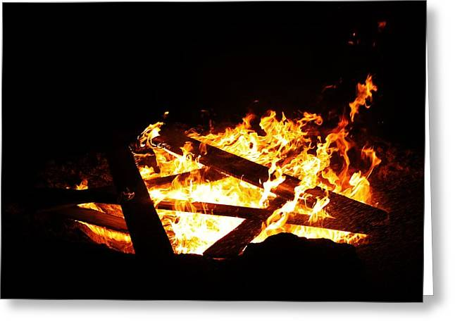 10x10 Greeting Cards - Fire Pit Greeting Card by Lori Mahaffey