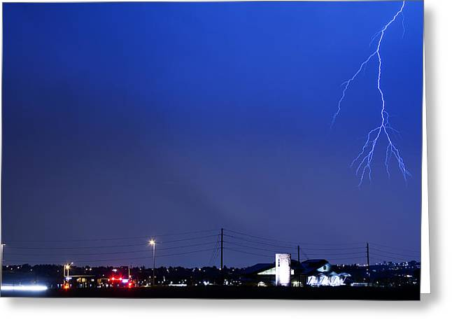Lightning Strike Greeting Cards - Fire Rescue Station 67  Lightning Thunderstorm 2 Greeting Card by James BO  Insogna